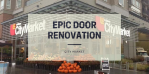 Door renovation with an architectural film at City Market, Vancouver
