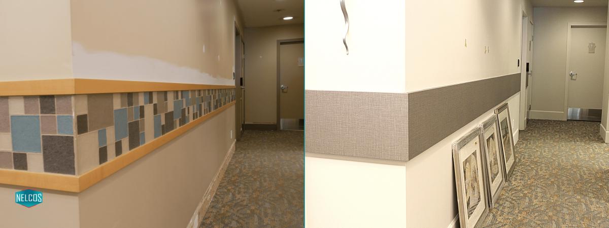 Wall panel renovation BEFORE - AFTER | Arbutus Walk Tapestry