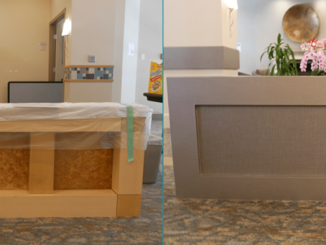 Reception renovation BEFORE - AFTER | Arbutus Walk Tapestry