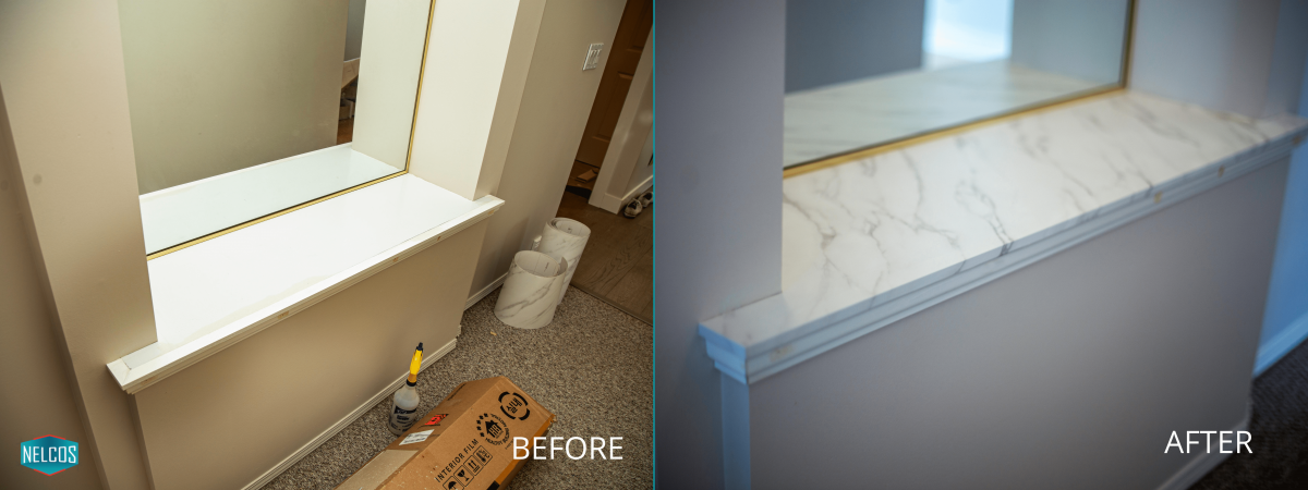 Window Sill Refinish BEFORE and AFTER