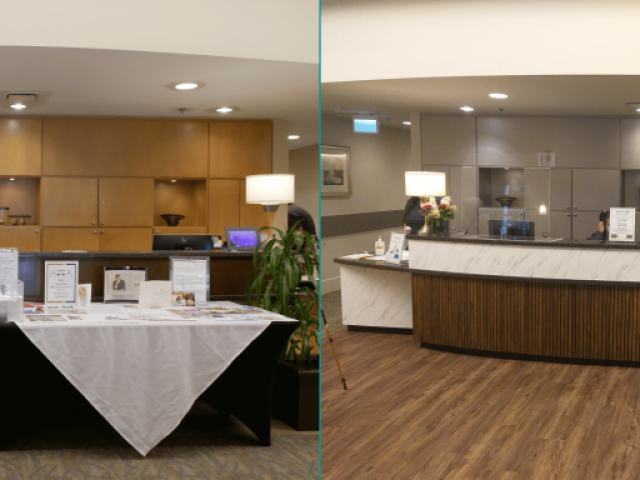 Front Desk renovation BEFORE - AFTER | Tapestry at Arbutus Walk