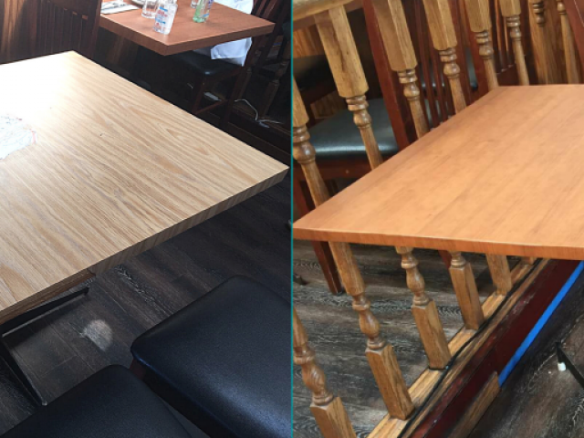 Marias Taverna Tables Renovation - BEFORE and AFTER