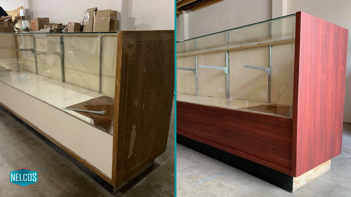 Display case renovation BEFORE - AFTER