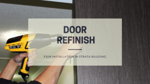 Door refinish at strata building