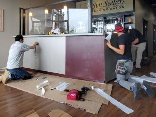 Sun Seekers Salon Front Desk during Renovation