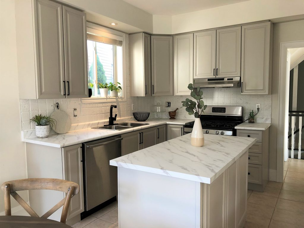 kitchen countertops renovation with architectural vinyl film