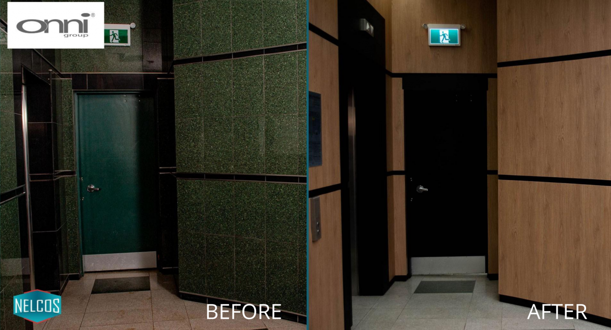 Restaurant Fire Door, Walls, and Wall Panelling Renovation – Before&After