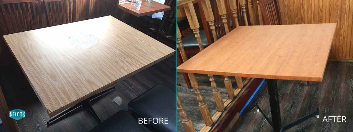 Restaurant Table Refinish – Before&After
