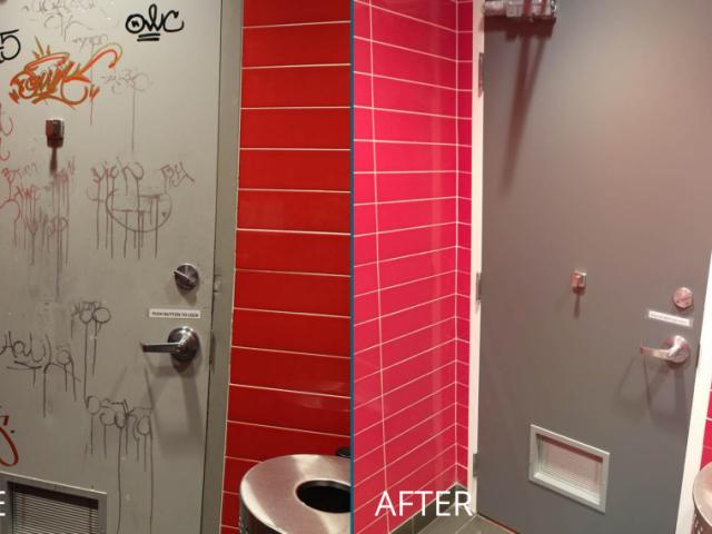 Restaurant Washroom Doors Refinish – Before&After