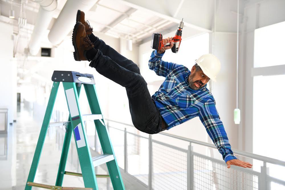 Safety ladder during vinyl film installation