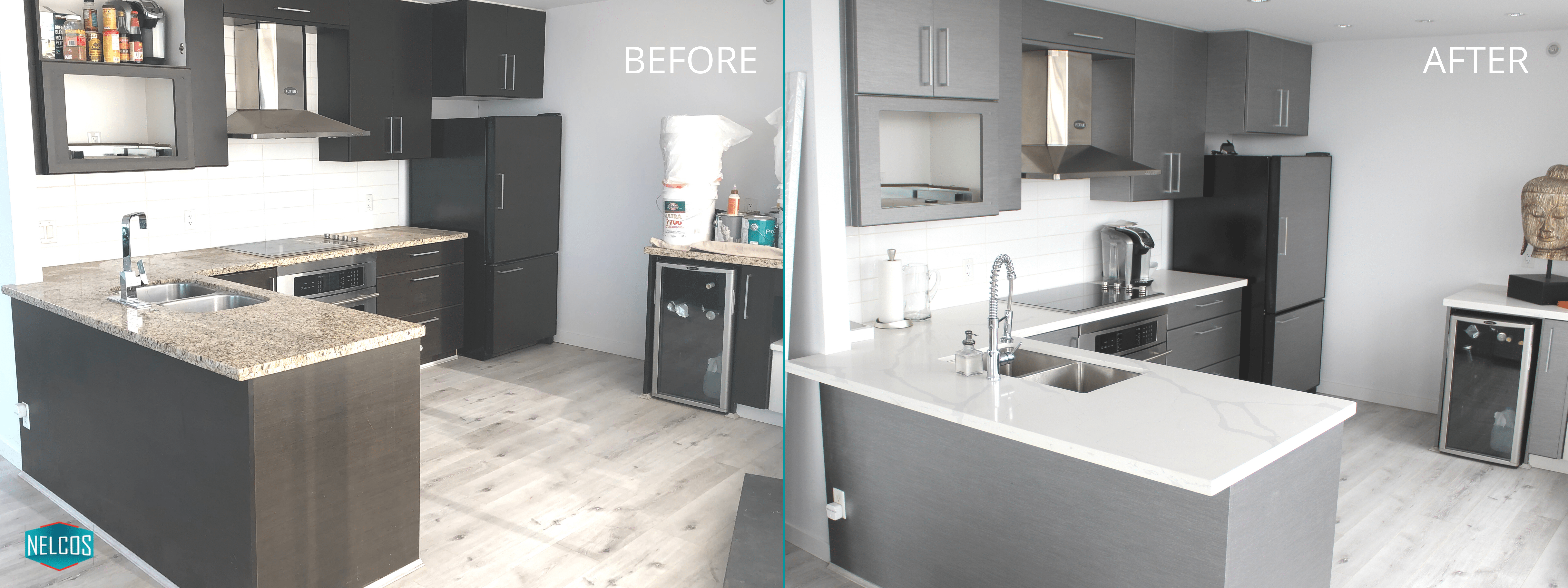 Kitchen Countertops and Cabinets Refinishing Before and After