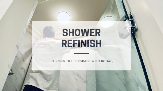Shower Refinish with Bodaq interior vinyl film - Blog Post Featured Image