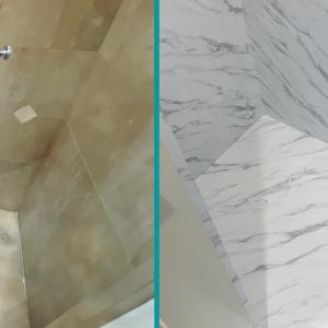 Shower refinishing with NS814 Bodaq Interior Film