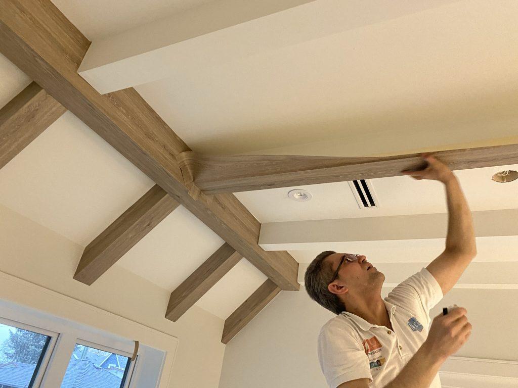 faux beams installation