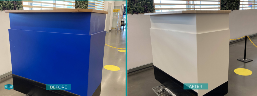 Desk of returns at ikea refinished with W389 and S115 Bodaq Interior Film